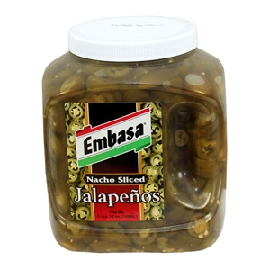 Megamex Embasa Nacho Sliced Jalapeno Peppers Plastic Jar - 108 Oz.