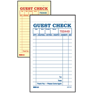 Guest Check No Carbon 2 Part with Yellow