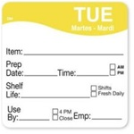 Daymark Dissolvemark Shelf Life Tuesday Label - 2 in. x 2 in.