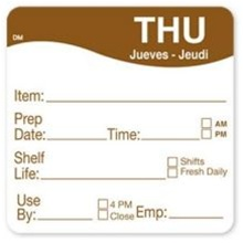 Daymark Dissolvemark Shelf Life Thursday Label - 2 in. x 2 in.
