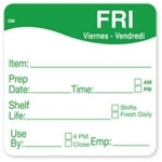 Daymark Dissolvemark Shelf Life Friday Label - 2 in. x 2 in.