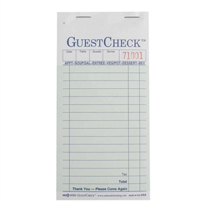 National Checking Carbon Guest Check Green 17 Lines - 3.5 in. x 6.75 in.
