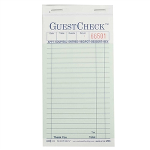 National Checking Guest Check Carbonless Green 19 Lines - 3.4 in. x 6.75 in.
