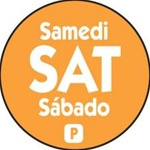 National Checking Trilingual Permanent Labels Circle Saturday Orange - 0.75 in.