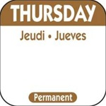 National Checking Trilingual Permanent Label Thursday Brown - 1 in. x 1 in.