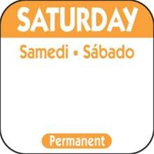 National Checking Trilingual Permanent Label Saturday Orange - 1 in. x 1 in.