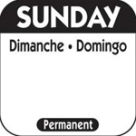 National Checking Trilingual Permanent Label Sunday Black - 1 in. x 1 in.