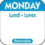 National Checking Trilingual Removable Label Monday Blue - 1 in. x 1 in.