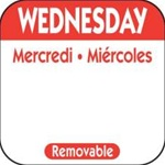 National Checking Trilingual Removable Label Wednesday Red - 1 in. x 1 in.
