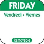 National Checking Trilingual Removable Label Friday Green - 1 in. x 1 in.