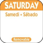 National Checking Trilingual Removable Label Saturday Orange - 1 in. x 1 in.