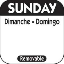 National Checking Trilingual Removable Label Sunday Black - 1 in. x 1 in.