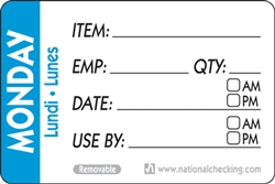 Trilingual Item Date-Use By Removable Monday Blue - 2 in. x 3 in.