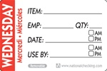 National Checking Trilingual Item-Date-Use By Removable Label Wednesday Red - 2 in. x 3 in.