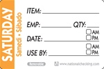 National Checking Trilingual Item-Date-Use By Removable Label Saturday Orange - 2 in. x 3 in.