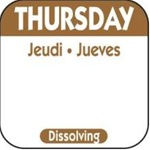 National Checking Trilingual Dissolvable Label Thursday Brown - 1 in. x 1 in.