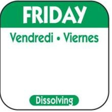National Checking Trilingual Dissolvable Label Friday Green - 1 in. x 1 in.