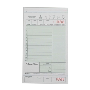 National Checking Guest Check Carbonless Green 11 Lines - 4.2 in. x 7.25 in.