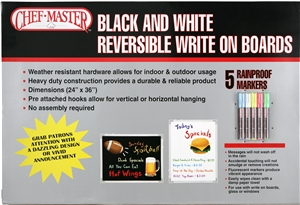 Mr Bar B Q Write On Black and White Reversible Board - 24 in. x 36 in.