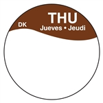 Daymark Circles Bilingual Box Thursday Label - 1 in.