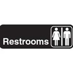 Traex White Imprint Restroom Sign