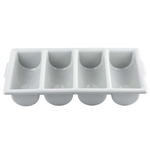 Tablecraft Plastic 4 Compartment Silverware Cutlery Bin Gray