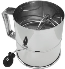 Rotary Flour Sifter 8 Cup Capacity Stainless Steel