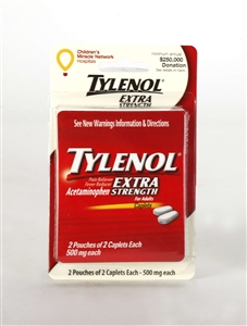 Convenience Valet Tylenol Extra Strength 4 Caplets and Paper Cup