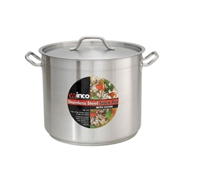Winco Stainless Steel Stock Pot 16 Qt. With Cover - 11 in. x 9.88 in.