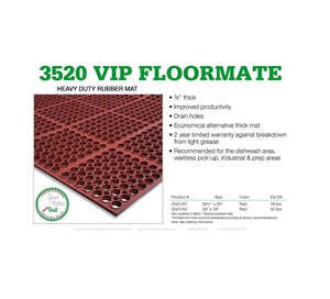 Cactus VIP Extra Red Floor Mat 58 in. x 39 in.