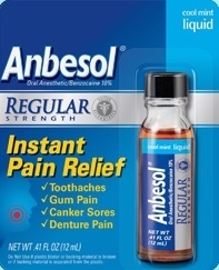 Pfizer Anbesol Regular Strength Mouth Pain Liquid - 0.41 Oz.