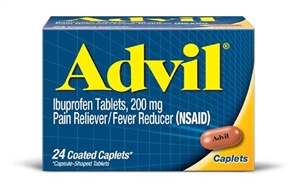 Pfizer Advil 24S Caplets Pain Reliever and Fever Reducer 72 Boxes of 24 Tablets