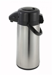 Glass Lined Airpot with Push Button Top Stainless Steel Body - 2.2 Ltr.