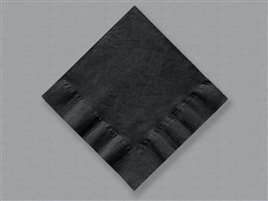 Beverage Black 1 Ply 1/4 Fold Napkin - 10 in. x 10 in.
