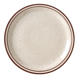 Caravan Brown Speckled Double Band Narrow Rim Plate - 9 in.