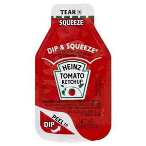 Heinz Dip and Squeeze Single Serve Ketchup - 27 gm. - 500 packs per case