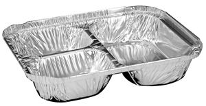 3 Compartment Aluminum Tray with Foil Board Lid