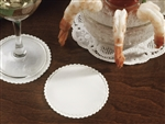 Paper White Linen Like Scalloped Edge Coaster