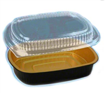 Gourmet to Go Small Oblong Black-Gold with Lid