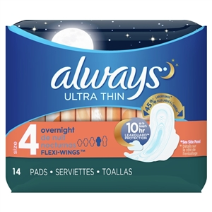 Always Thin Ultra Pads Overnight Wing