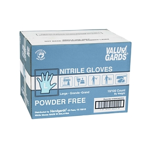 White Valugards Nitrile Powder Free Gloves - Large