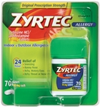 Zyrtec 24 Hour Indoor and Outdoor Allergy Tablets - 10 Mg.