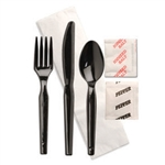 Knife Fork Spoon Napkin Salt and Pepper Kit Black