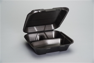 Large 3 Compartment Snap It Foam Hinged Dinner Container Black - 9.25 in. x 9.25 in. x 3 in.