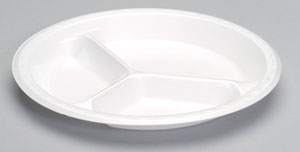 3 Compartment Laminated Plate - 10.25 in.