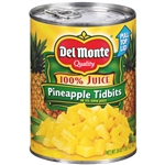 Delmonte Pineapple Tidbits In 100 Percent Juice - 20 Oz.