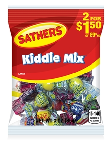 Sathers Kiddie Mix Peg Bag - 3 Oz.
