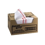 All Day White with Red Print Foodservice Towel - 12.38 in. x 21 in.