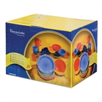 24 Piece Box Microwave Safe Set - Six Colors Equally Mixed : Sage, Orange, Red, Yellow, Light Blue, Dark Blue