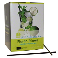 Goldmax Poly King Sip and Stir Straw Black - 5.5 in.